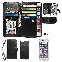 "iPhone 6/6S Case,xhorizon TM SR Premium Leather Folio Case[Wallet Function][Magnetic Detachable]Wristlet Purse Soft Flip Multiple Card Slots Case for iPhone 6/6S (4.7"") +1 PCS HD Screen Protector"