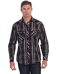 Gioberti Mens Casual Western Plaid Checked Pearl Snap Long Sleeve Shirt