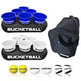 BucketBall - Team Color Edition - Party Pack (Navy Blue/White): Original Yard Pong Game: Best Camping, Beach, Lawn, Outdoor, Family, Adult, Tailgate Game
