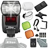 Nikon SB-5000 AF Speedlight with Heavy Duty Off-Camera Flash Cords, 180 Degree Quick Flip Rotating Flash Bracket + Deluxe Accessory Bundle and FiberTique Cleaning Cloth