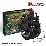 3d Puzzle Queen Anne's Revenge Large Cubicfun T4018h 308 Pieces Decorative Exiting Fun Educational Playing Building Game Kids Best Gift Toy