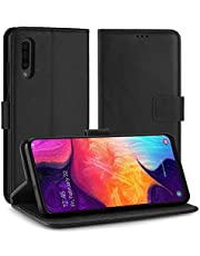Simpeak for Samsung Galaxy A50 Case Leather Black, Premium PU Leather [Ultra-Slim] Flip Wallet Case with TPU Shockproof Function Flipcase Cover for Samsung Galaxy A50