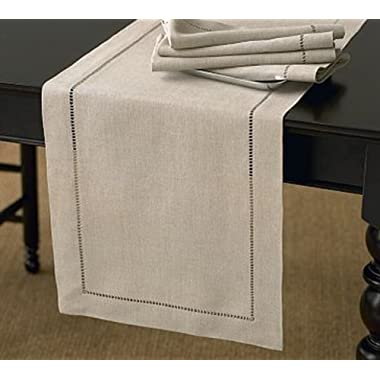 Handmade Hemstitch Design Natural Table Runner. One Piece. 16 x72  Rectangular.