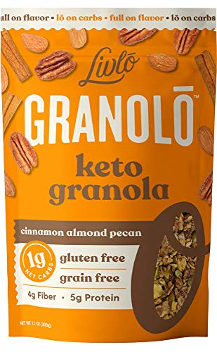 Livlo Keto Nut Granola Cereal - 1g Net Carbs - Grain Free & Gluten Free - Keto Friendly Low Carb Healthy Snack - Paleo & Diabetic Friendly Food - Cinnamon Almond Pecan, 11oz