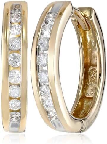 10k Gold Channel-Set Diamond Hoop Earrings (1/3 cttw, H-I Color, I2-I3 Clarity)