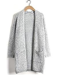 SEENFUN Women's Classic Long Sleeve Knit Sweater Open Front Warm Cardigan