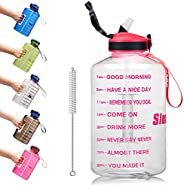 SLUXKE Gallon Water Bottle with Straw and Motivational Time Marker Easy Sipping Leakproof BPA Free 128OZ/74OZ
