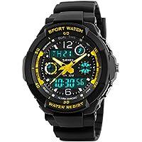 Kid Watch Multi Function LED Digital Sport 50m impermeable Relojes de cuarzo analógico electrónico para Boy/Girl Niños Regalo, Amarillo