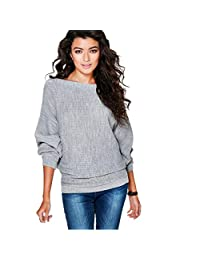Leegor Women Batwing Sleeve Knitted Pullover Loose Sweater Jumper Tops Knitwear