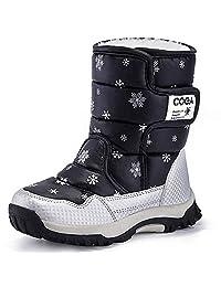 Calflint Boy's Girls Outdoor Waterproof Winter Fur Snow Boots Cold Weather Kid Shoes