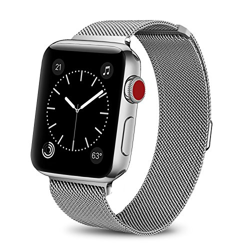 BRG for Apple Watch Band 38mm 42mm, Stainless Steel Mesh Milanese Loop with Adjustable Magnetic Closure Replacement iWatch Band for Apple Watch Series 3 2 1 (silver, 38mm) from BRG