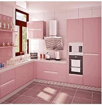 Buy Imported New Cupboard Kitchen Cabinets Pvc Self Adhesive Waterproof Wallpaper Pink Online At Low Prices In India Amazon In