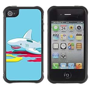 ZAKO Cases / Apple Iphone 4 / 4S / Funny Inflatable Shark Illustration / Robusto Prueba de choques Caso Billetera cubierta Shell Armor Funda Case Cover Slim Armor
