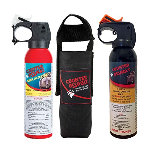 (Counter Assault - EPA Certified, Maximum Strength & Distance Bear Repellent Spray - Hottest Formula Allowed by Law - Night Glow Locator & Tactical Holster Included (8.1 & Inert))