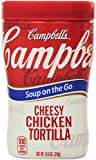Grab Campbell's Soup on the Go Cheesy Chicken Tortilla Soup to savor our ultra-flavorful rendition of a Mexican favorite. All the tastes you crave are loaded into our convenient heat-and-go cup: savory chicken, tortilla chips, creamy Cheddar ...