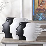 QINGF Nordic Ceramic Abstract Face Decorations Modern Minimalist Pottery Vase Ornaments Creative Home Crafts,Black,L