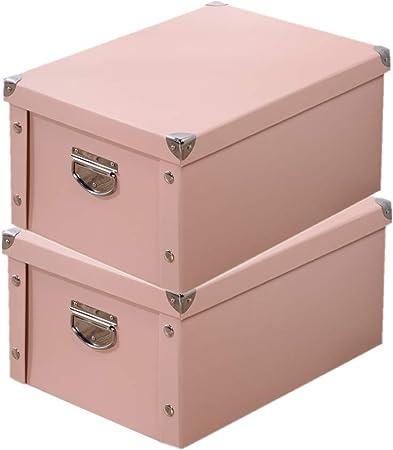 SHINYLIFE Caja de almacenamiento decorativa de cartón con tapa y asa de metal – Papelera plegable multiusos