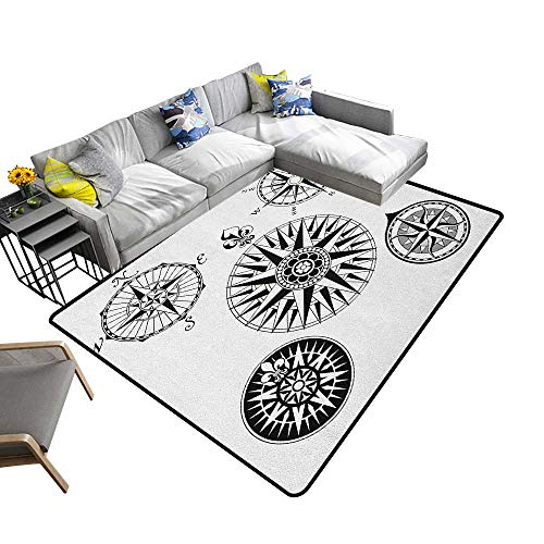 Compass Indoor Floor mat A Set of Highly Detailed Five Windroses Angles Directions Navigation in The Sea 78