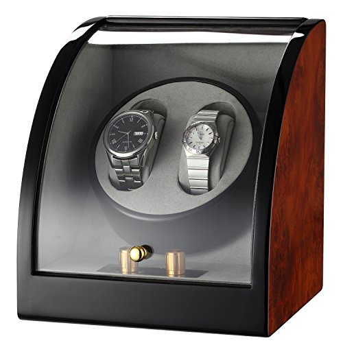 CHIYODA Double Watch Winder with Curved Cover-Black