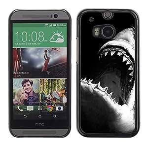 Tiburón Tiburón Negro Blanco Surf Surf- Metal de aluminio y de plástico duro Caja del teléfono - Negro - HTC One M8