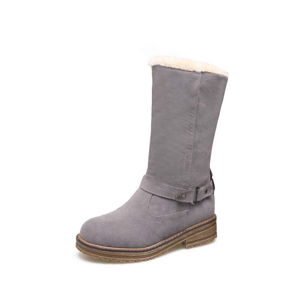 Hy Damen Stiefel Winter Wildleder Schneeschuhe/Wohnung große Größe Stiefelies/Damen Plus Cashmere warme Winterstiefel (Farbe : Grau, Größe : 34)