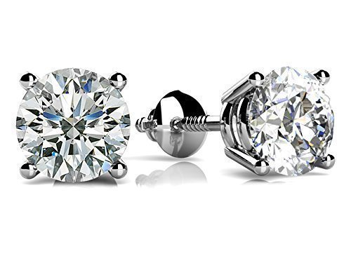 5mm VG Moissanite 1.0 cttw 14k White Gold Threaded Screw Back Round 4 Prong Stud Earrings (0.82 cttw Moissanite, I-J Color, VS1-VS2 Clarity)