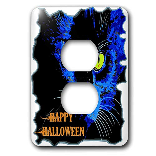 3dRose Taiche - Vector - Halloween Black Cat - Cute Happy Halloween Moonlight Black Cat Vector - Light Switch Covers - 2 plug outlet cover (lsp_299340_6)