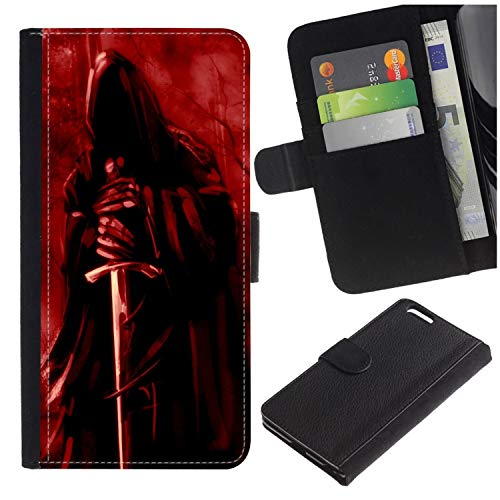 - [Death Grim Reaper and Ace with Sword] for Samsung Galaxy Alpha/S801/G850, Flip Leather Wallet Holsters Pouch Skin Case