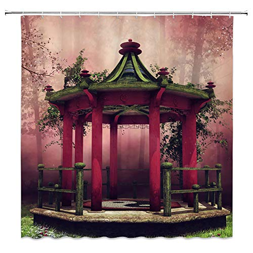 Colorful Oriental Gazebo Shower Curtain Orchard With Blooming Cherry Trees Spring Meadow Green Plants Leaves Foggy Forest Decor Fabric Bathroom Curtains,70x70 Inch Waterproof Polyester with Hooks