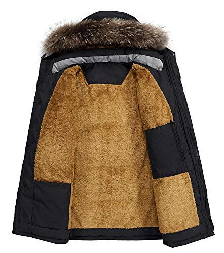 Homme Parka Hiver Blousons Chaud Manteau Fourrure Capuche Veste Militaire Blouson Multi-Poche Men Winter Casual Jacket 3