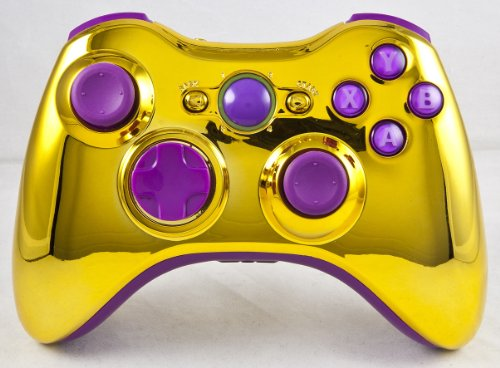 Gold/Purple Xbox 360 Modded Controller (Rapid Fire) COD Ghosts, MW3, Black Ops 2, MW2, MOD GAMEPAD (Modded Controller Purple Xbox 360)