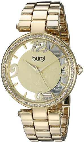 Gold Tone Floating Crystal Watch - 6