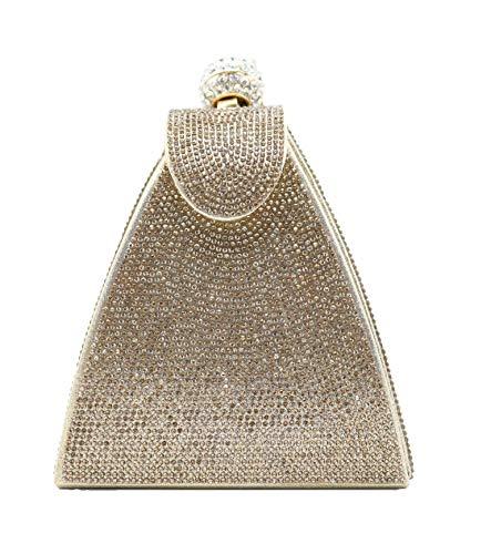 allx Full Rhinestone Fashion Evening Bag Triangle Women (Simple gold) (Evening Fashion Handbag)