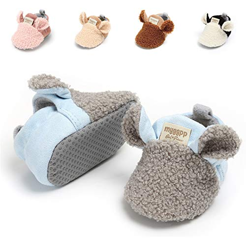 Baby Boys Girls Slipper Cozy Fleece Booties Non-Slip Bottom Winter Socks Unisex Pram Soft Sole Infant First Walker Crib House Shoes (6-12 Months M US Infant), C-Grey