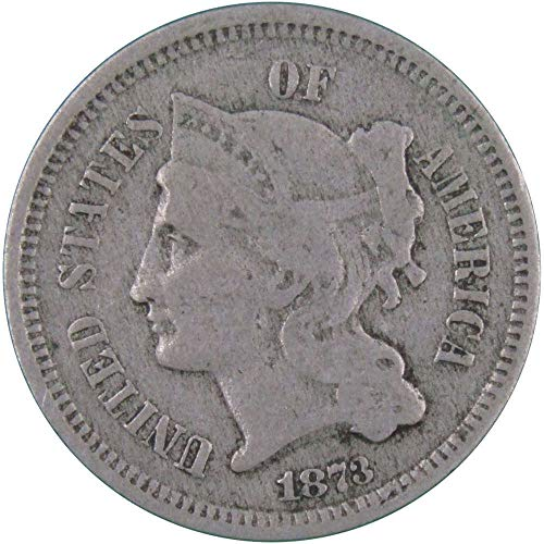 1873 Closed 3 3c Nickel Three Cent Piece US Coin Average Circulated