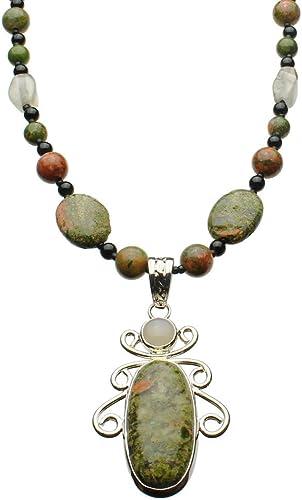 Natural Multi Colour Unakite Gemstone Pendant on a Black Cord Necklace #526