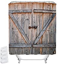 """Yulink Polyester Fabric Home Decor Shower Curtain 72""""(w) x 72""""(h) Inches (Wooden door)"""