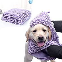 PORMI Dog Absorbent Towel,Quick Drying Absorbent Microfiber Chenille Pet Towel Hand Pockets Ultra-Absorbent&Machine Washable Durable,Washable Prevent Mud Dirt Dogs/Cats All Breed(Purple)