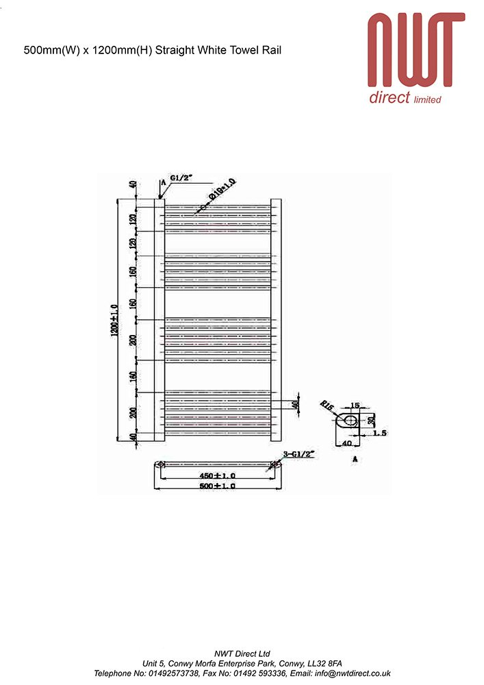 x 1500mm h 400mm w Straight White Heated Towel Rail 2276 BTUs Radiator Warmer