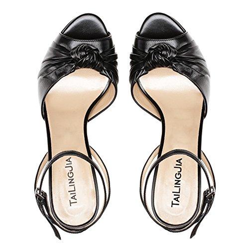 Negro las Party 4 6 8 Strappy 7 Peep ZPL de alto tacón Sandalias Toe Ladies Plataforma para Tamaño mujeres Negro Bloque Womens Correa 3 Shoes 5 Open Tobillo UwqBUSxn7z