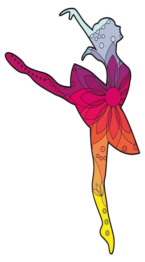 Wandtattoo Kinderzimmer Musik Wandsticker Balletttänzerin mit einem floralen Mu