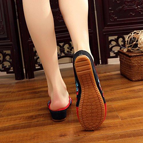 WXT Zapatos bordados, lenguado de tendón, estilo étnico, flip flop femenino, moda, sandalias cómodas y casuales black green