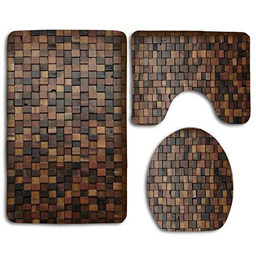 RiuianaBVCc Wooden Blacks Puzzle Custom Soft Comfort Bathroom Mats Anti-Skid Absorbent Toilet Seat Cover Bath Mat Lid Cover 3pcs ()