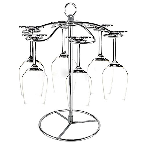 GeLive Silver Metal Wine Glass Holder Stand, Stemware Rack Hanger, Tabletop Display Decor