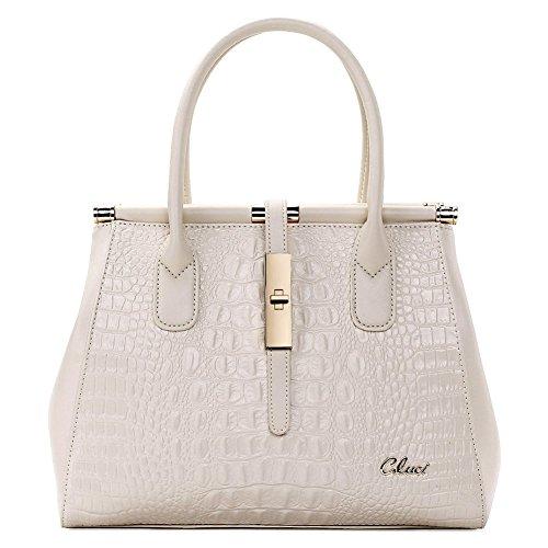 [Cluci Women's Crocodile Grain Leather Designer Handbags Purse Tote Cross-body Bags White] (Replica Makeup)
