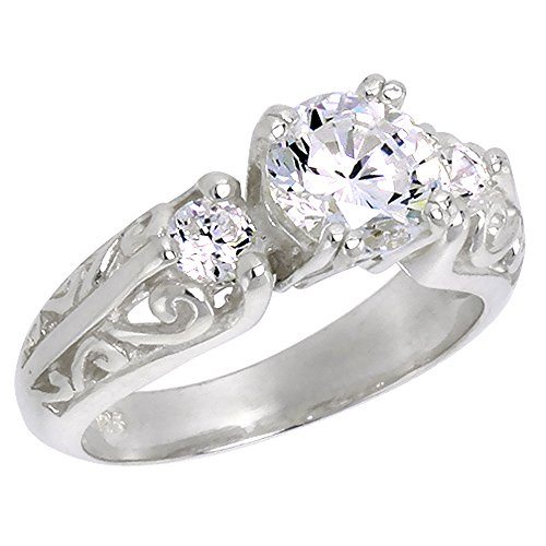 Sterling Silver Cubic Zirconia 3-Stone Engagement Ring Brilliant Cut Vintage Style, 1/4 inch wide, size - Platinum Zirconium Cubic Ring