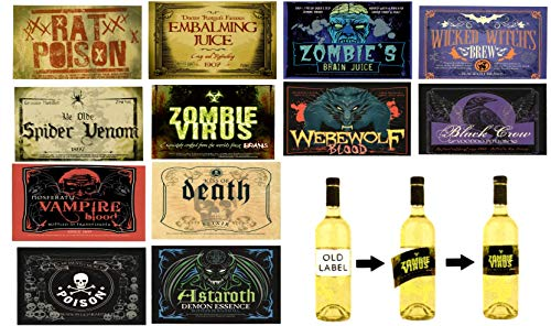 Wine Labels Stickers For Wine And Liquor Bottles - Horrifying Beverage Labels, 16 Pieces by SFAM