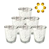 Neo LOONS Laser Cut Mercury Glass Votive Candle Holder Tealight Holder 2.70'' Height for Home Decor Wedding Party Celebration Gift, Set of 6 (Speckled Silver)
