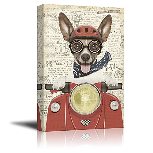Creative Animal Figure on Vintage Paper A Dog Riding a Red Motorcycle Gallery
