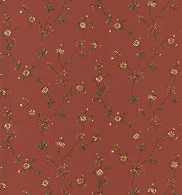 Brewster 403-49219 Cottage Living Daisy Red Floral Trail Wallpaper